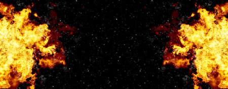 明るい爆発の黒の背景上のフラッシュ。火のバースト