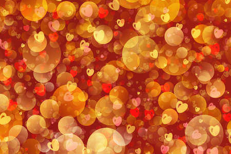 chaotic: Warm flying bubbles and hearts in Chaotic Arrangement. Bokeh backgrounds