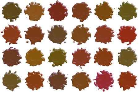 spot the difference: many different sealing-wax stamp shape isolated on white