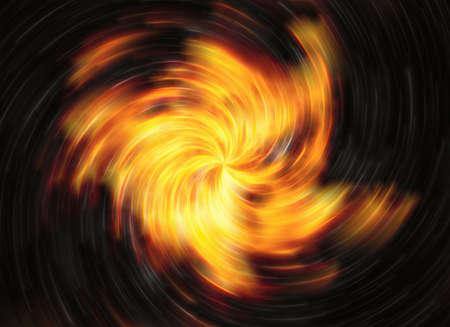 detonation: twirl motion of bright explosion flash on black backgrounds Stock Photo