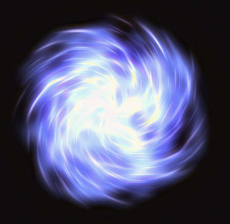 curled: motion curled blue flash beam in space. motion blur effect Stock Photo