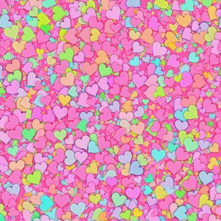 多くの色とりどりの小さな心の背景。テクスチャが大好き