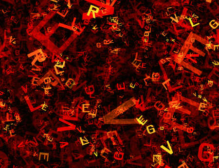 chaotical: many abstract chaotic red alphabet letters Stock Photo