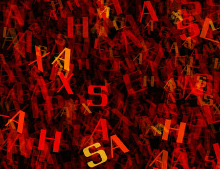 chaotic: many abstract chaotic red alphabet letters Stock Photo