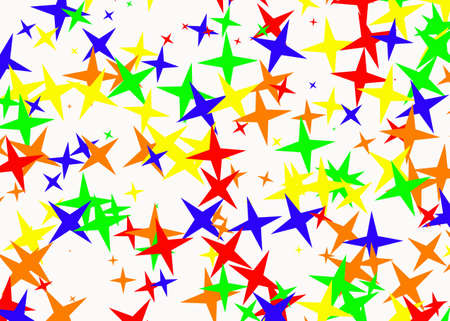 holiday symbol: many multicolored stars on white backgrounds. Holiday symbol Stock Photo