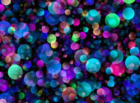 dreamy: Many transparent dreamy bubbles in Chaotic Arrangement. Holiday Bokeh backgrounds Stock Photo