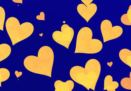 friendliness: flying yellow grainy hearts on blue backgrounds. Love symbol