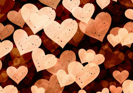 light brown: flying light grainy hearts on brown backgrounds. Love symbol