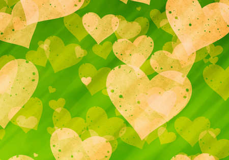 dreamy: dreamy yellow hearts on green backgrounds. Love symbol Stock Photo