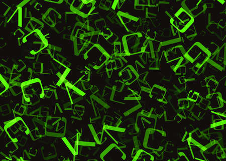 turned out: chaotic flying of many abstract green alphabet letters