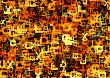 chaotical: heap of abstract chaotic orange alphabet letters