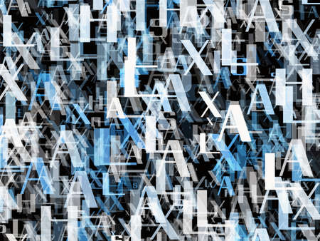 chaotical: many abstract blue alphabet letters