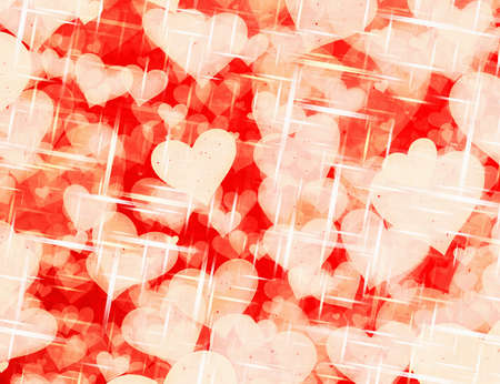 dreamy: dreamy sparkling light hearts on red backgrounds. Love symbol
