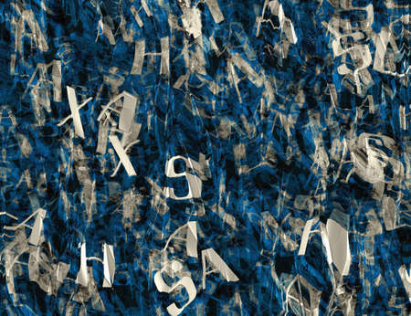 turned out: crumple paper with many abstract blue alphabet letters