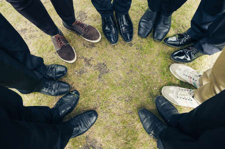 many men of different shoes. top view photo