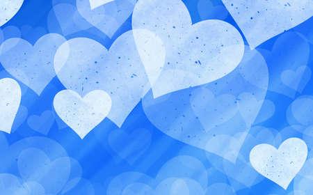 dreamy: dreamy light hearts on blue backgrounds. Love symbol