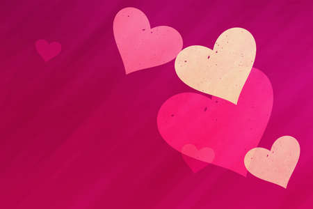 speckled: dreamy light hearts on red rays backgrounds. Love symbol Stock Photo