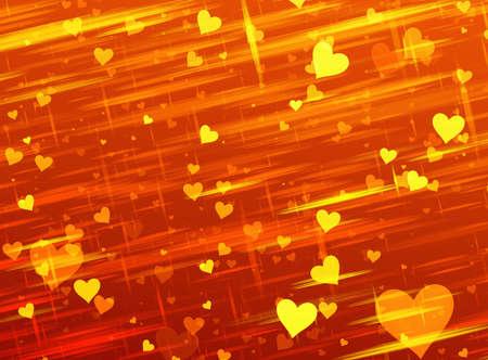 dreamy: dreamy sparkling light hearts on golden backgrounds. Love symbol