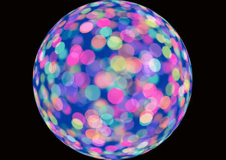 discoball: multicolored discoball with clipping path. motion blur effect. focus on lateral sides. The foreground is blur