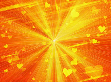 energy background: dreamy sparkling light hearts on sun rays backgrounds. Love symbol