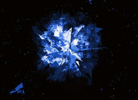 detonation: burst planet on a black space background Stock Photo