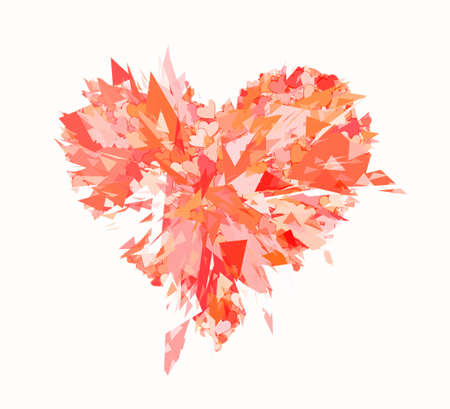 smithereens: burst of broken heart on white backgrounds Stock Photo