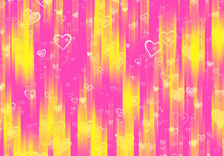 many hearts background with yellow rays Banque d'images