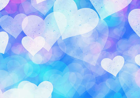 spotted ray: blue hearts bokeh background of Love symbol Stock Photo