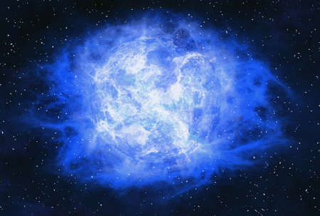 irradiate: rays beam of hot planet on space stars background