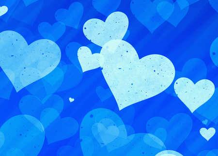 dreamy: dreamy light hearts on blue background. Love symbol