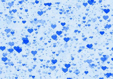 corazones azules: muchos corazones multicolores sobre fondo azul. símbolo del amor