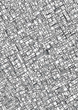 dense: top view of roofs city. colouring book