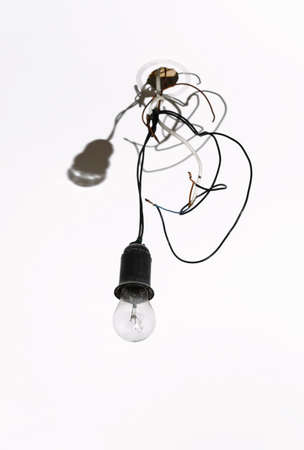 careless: insecure lamp. careless work concept image Stock Photo
