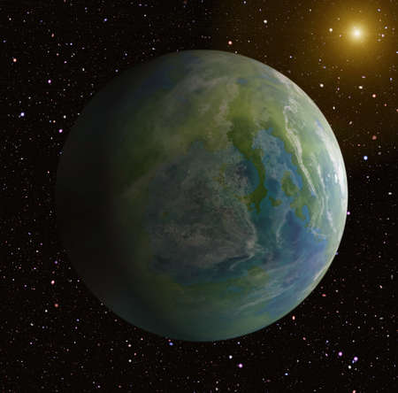 populated: one side shadow of earth planet on sun and stars background. This is no NASA photo, this is render image Stock Photo