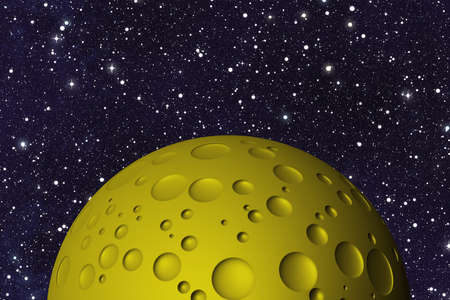 uninhabited: yellow big moon with craters on space background