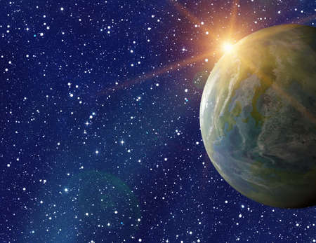 populated: earth planet on sun and stars background with flare. This is no NASA photo, this is render image