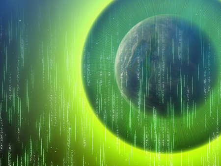 fluorescence: one side shadow of earth planet. abstract matrix glow backgrounds Stock Photo