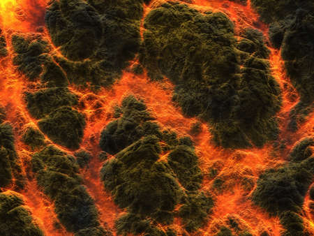 charred: solidified lava texture after eruption volcano. top view mountains