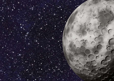 uninhabited: big moon with craters on space background Stock Photo