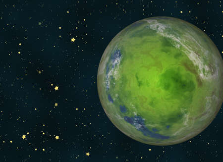 no image: green earth planet on cosmos stars backgrounds. This is no nasa photo, this is render image
