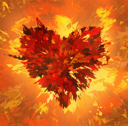 smithereens: burst of broken heart on fire background