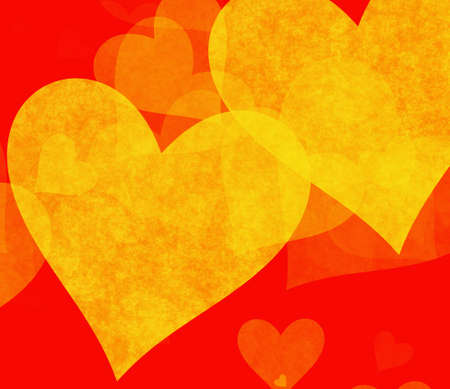 tender: yellow big hearts backgrounds on red background Stock Photo