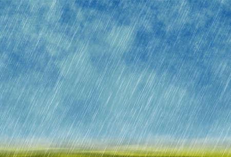 fondo tormenta de lluvia en tiempo nublado con la hierba verde Foto de archivo