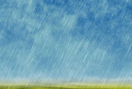 cloudburst: rain storm background in cloudy weather with green grass