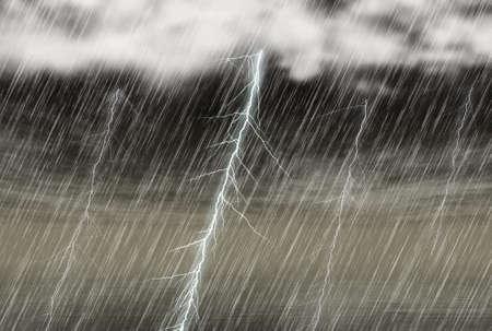 rain storm background with lightning in cloudy weather