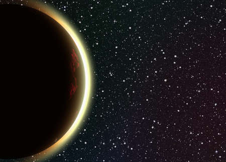 no image: solar eclipse on space stars backgrounds. This is no NASA photo, this rendere image with flare