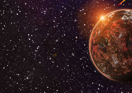 populated: red planet on cosmos stars backgrounds with flash and flare effect
