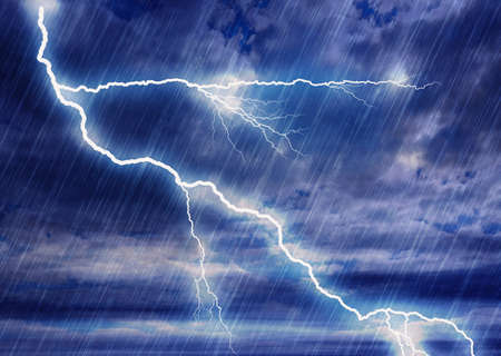 downpour: rain storm backgrounds with lightning in cloudy weather Stock Photo