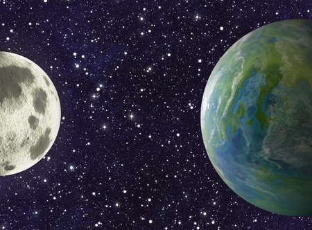 populated: moon and earth planets on stars background. This is no NASA photo, this is render image