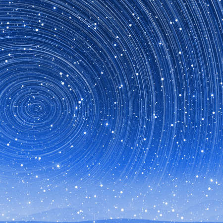 torsion: Beautiful star trail image during at night in arctic with aurora Stock Photo